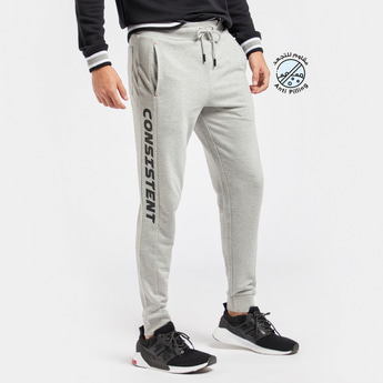 Slim Fit Typgraphic Print Jog Pants with Drawstring Closure