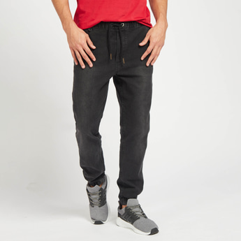 Mid-Rise Slim-Fit Solid Jog Pants with Pocket Detail