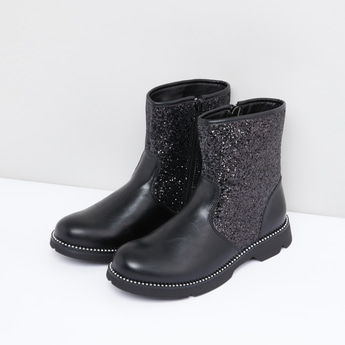 Textured Boots with Zip Closure and Glitter Accent