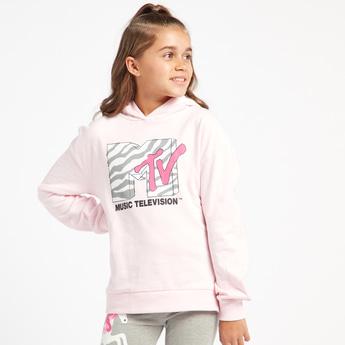 MTV Print Hoodie with Long Sleeves