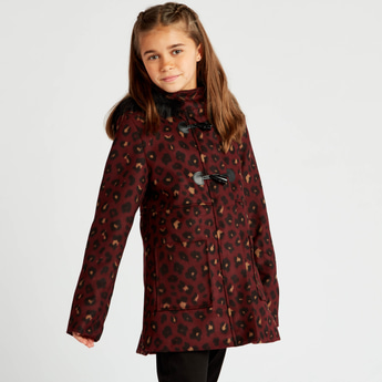 Leopard Print Duffle Coat with Hood and Long Sleeves