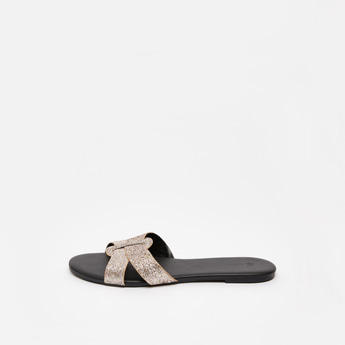 Glitter Accent Cross Strap Sandals with Stacked Heels