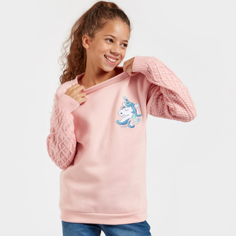 Cable Knit Sweater with Long Sleeves and Unicorn Badge