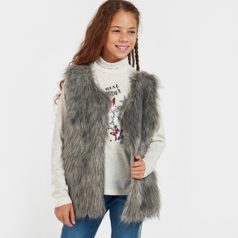 Sequin Detail Long Sleeves T-shirt with Textured Gilet Sweater