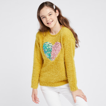 Embellished Sequin Detail Heart Sweater with Round Neck and Long Sleeves