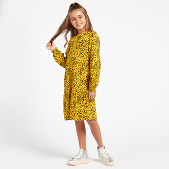 Animal Print Round Neck Mini Dress with Long Sleeves
