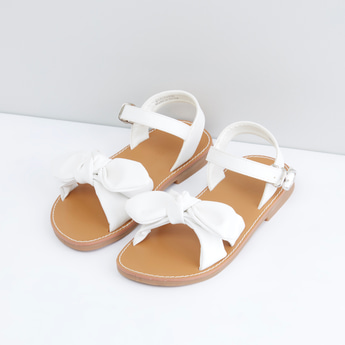 Bow Applique Detail Sandals with Pin Buckle