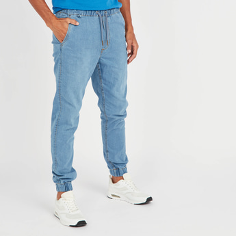 Slim Fit Mid-Rise Denim Jog Pants with Pocket Detail and Drawstring