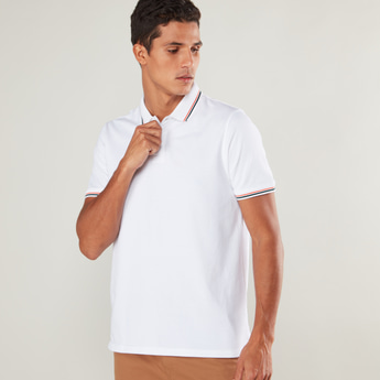 Textured Polo T-shirt with Short Sleeves