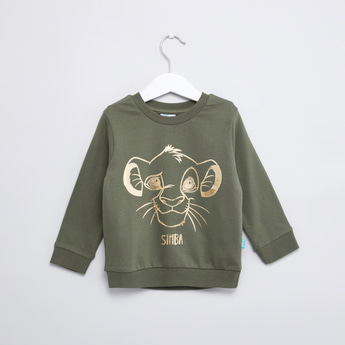 Simba Printed Sweatshirt with Round Neck and Long Sleeves