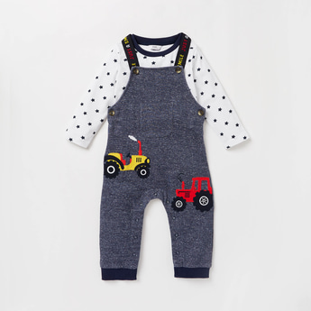 Printed Round Neck T-shirt and Full Length Dungarees Set