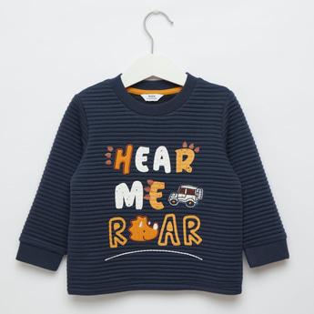 Textured Sweatshirt with Embroidery and Long Sleeves