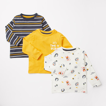 Pack of 3 - Printed T-shirt with Round Neck and Long Sleeves