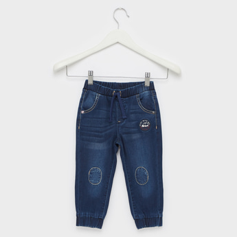 Knee Patch Detail Denim Jog Pants