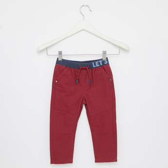 Solid Pants with Drawstring Waist Tie Up