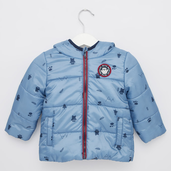 All Over Print Padded Jacket with Long Sleeves and Zipper