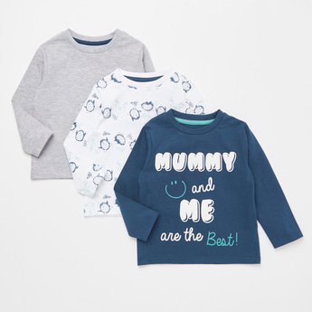 Set of 3 - Printed T-shirt with Round Neck and Long Sleeves