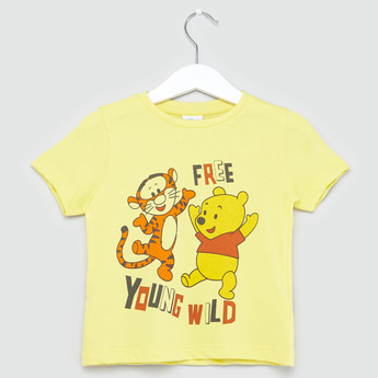 Winnie-the-Pooh Tigger Print T-shirt with Short Sleeves