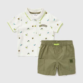 Printed Polo T-shirt and Shorts Set