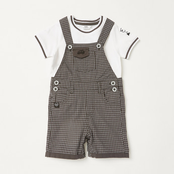 Solid T-shirt with Short Sleeves and Chequered Dungarees Set