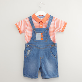 Striped Polo T-shirt with Denim Dungarees