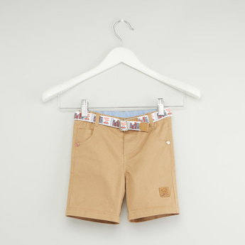 Solid Shorts with Pockets and Woven Belt