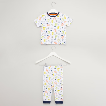 Printed Round Neck T-shirt with Pyjamas Set