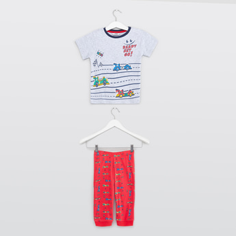 Cars Print T-shirt with Full Length Pyjamas Set