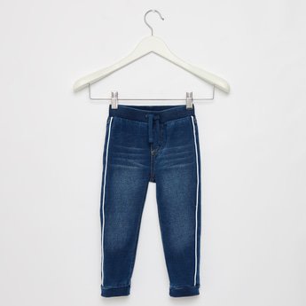 Full Length Denim Jog Pants with Tape Detail and Drawstring Closure