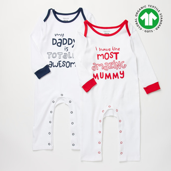 Set of 2 - Printed GOTS Organic Cotton Sleepsuit with Long Sleeves