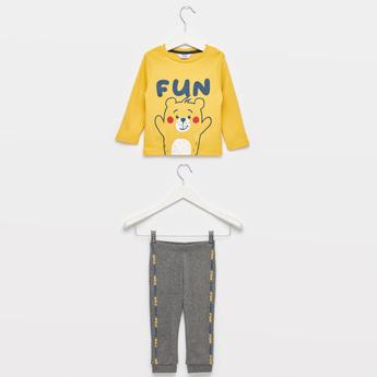 Fun Bear Print T-shirt with Contrast Pyjama Set