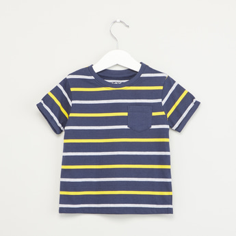 Striped Round Neck T-shirt with Short Sleeves and Patch Pocket
