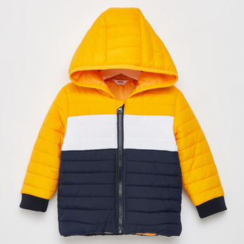 Colourblocked and Quilted Hooded Jacket with Long Sleeves