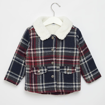 Checked Jacket with Collared Neck and Button Front Closure