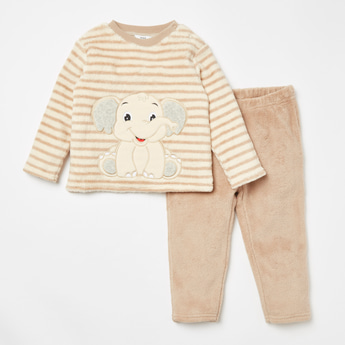 Embroidered Elephant Long Sleeves T-shirt and Textured Pyjama Set