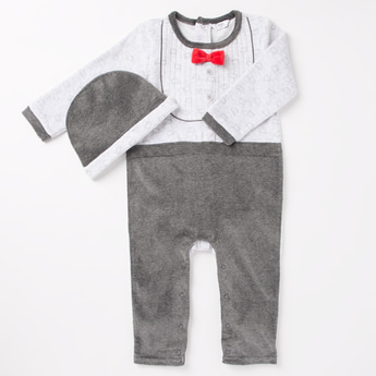 Printed Round Neck Sleepsuit with Bow Accent and Cap