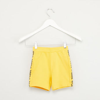 Text Printed Shorts with Pockets and Elasticised Waistband