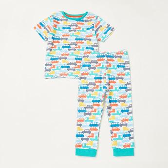 All-Over Cars Print Short Sleeves T-shirt and Pyjama Set