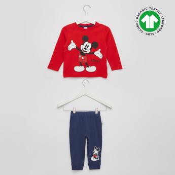 Mickey Print GOTS Organic Cotton T-shirt and Jog Pants Set