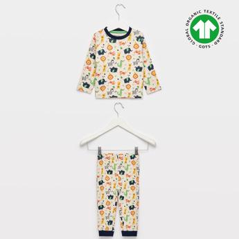 Animal Print GOTS Organic Cotton T-shirt and Full Length Pyjama Set