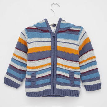 Striped Jacket with Hooded Neck and Zip Closure