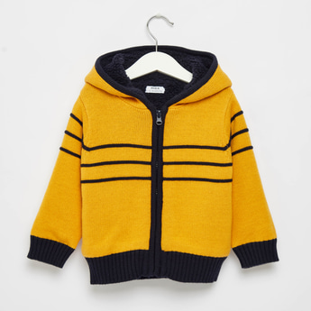 Striped Sweater Jacket with Long Sleeves and Hood
