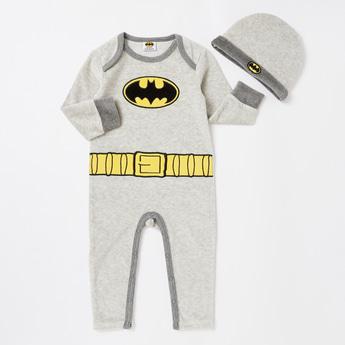Batman Print Full Length Sleepsuit with Cap