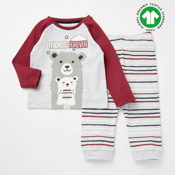 Printed GOTS Organic Cotton Round Neck T-shirt and Striped Joggers Set