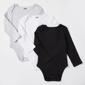 Set of 3 - Textured Bodysuits with Round Neck and Long Sleeves