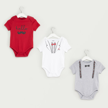 Set of 3 - Graphic Print Bodysuits with Snap Button Closure