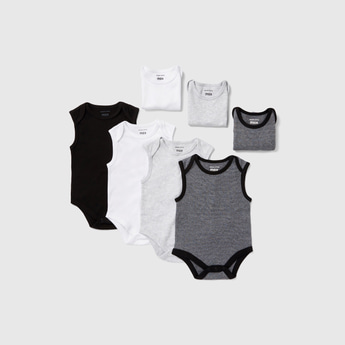 Set of 7 - Solid Sleeveless Bodysuit with Round Neck