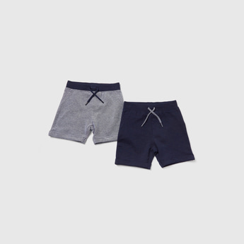 Pack of 2 - Textured Shorts with Drawstring and Pockets