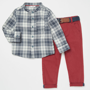 Checked Long Sleeves Shirt with Full Length Solid Pants