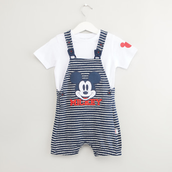 Mickey Mouse Print Short Sleeves T-shirt with Striped Dungarees